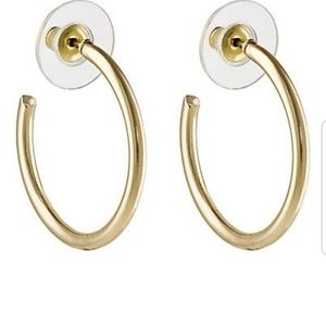 Polished yellow-goldtone tin-silver small hoops NW